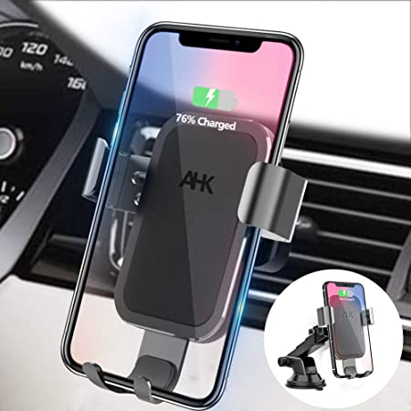AHK Wireless Charger Car Mount, Gravity Windshield Dashboard Air Vent Phone Holder for iPhone Xs Max X XR 8 8 Plus Samsung Galaxy Note 9 S9 S9 S8 S8 S7 S6 Edge and Other Qi Enabled Phones Black