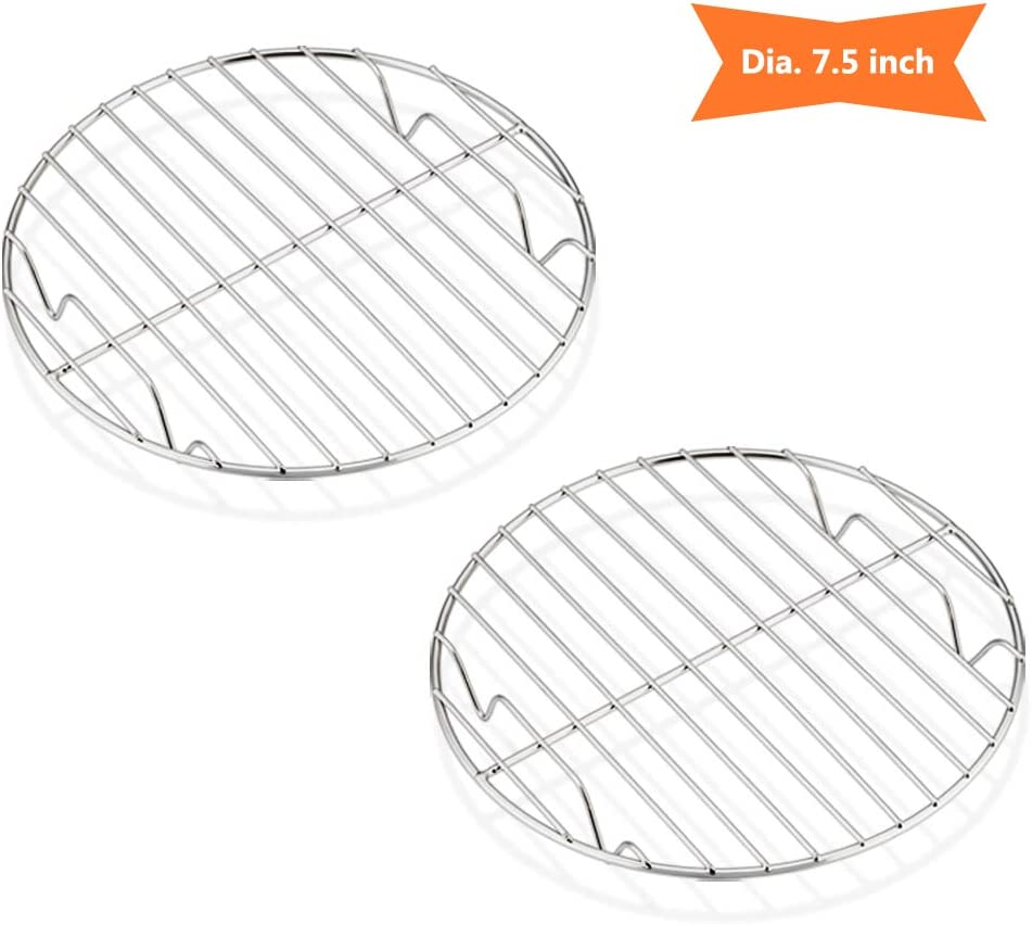 7½ Inch Steaming Cooking Racks, E-far Stainless Steel Round Baking Cooling Rack Set of 2, Multi-Purpose for Canning Air Fryer Instant Pot Pressure Cooker, Dishwasher Safe