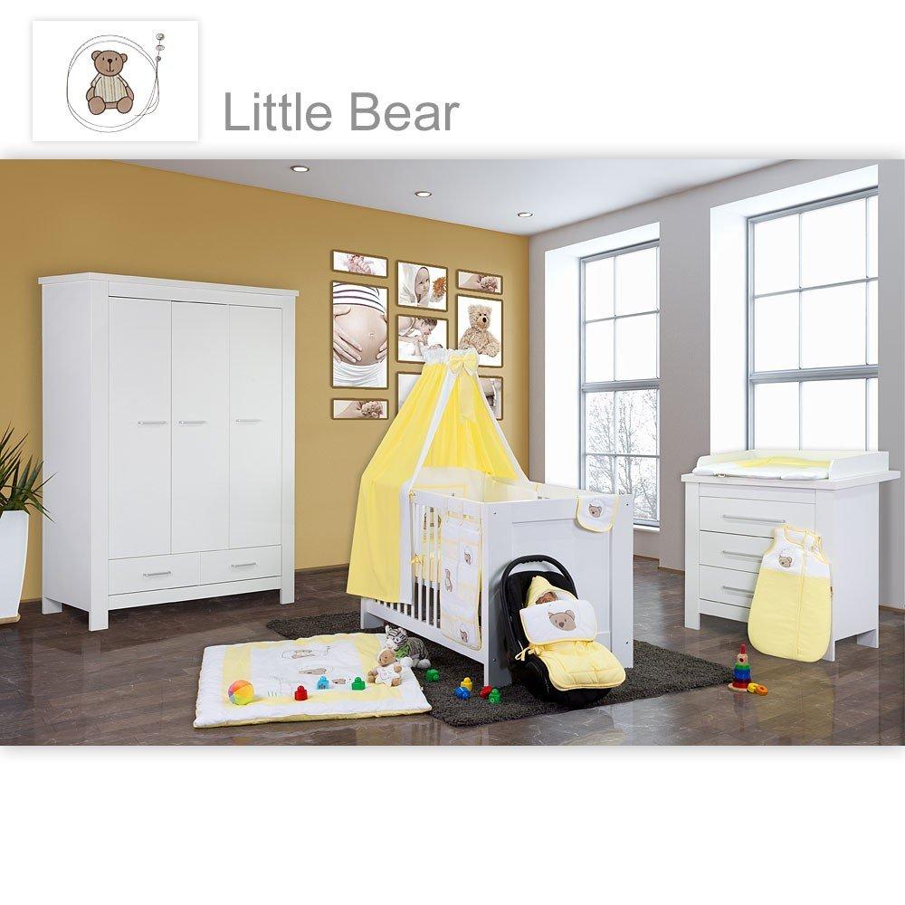 Babyzimmer Enni in weiss 10 tlg. mit 3 türigem Kl. + Textilien von Little Bear in Gelb