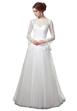 HeleneBridal Beach A-Line Illusion Neckline Long Lace Sleeves Wedding Dress at Amazon Womens Clothing store: