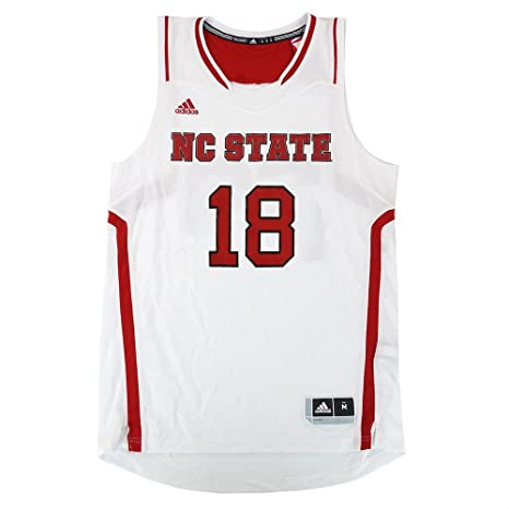 ab246e2f2ec6 Image Unavailable. Image not available for. Color  adidas NC State Wolfpack  NCAA  18 Official Basketball Home White Jersey Men s