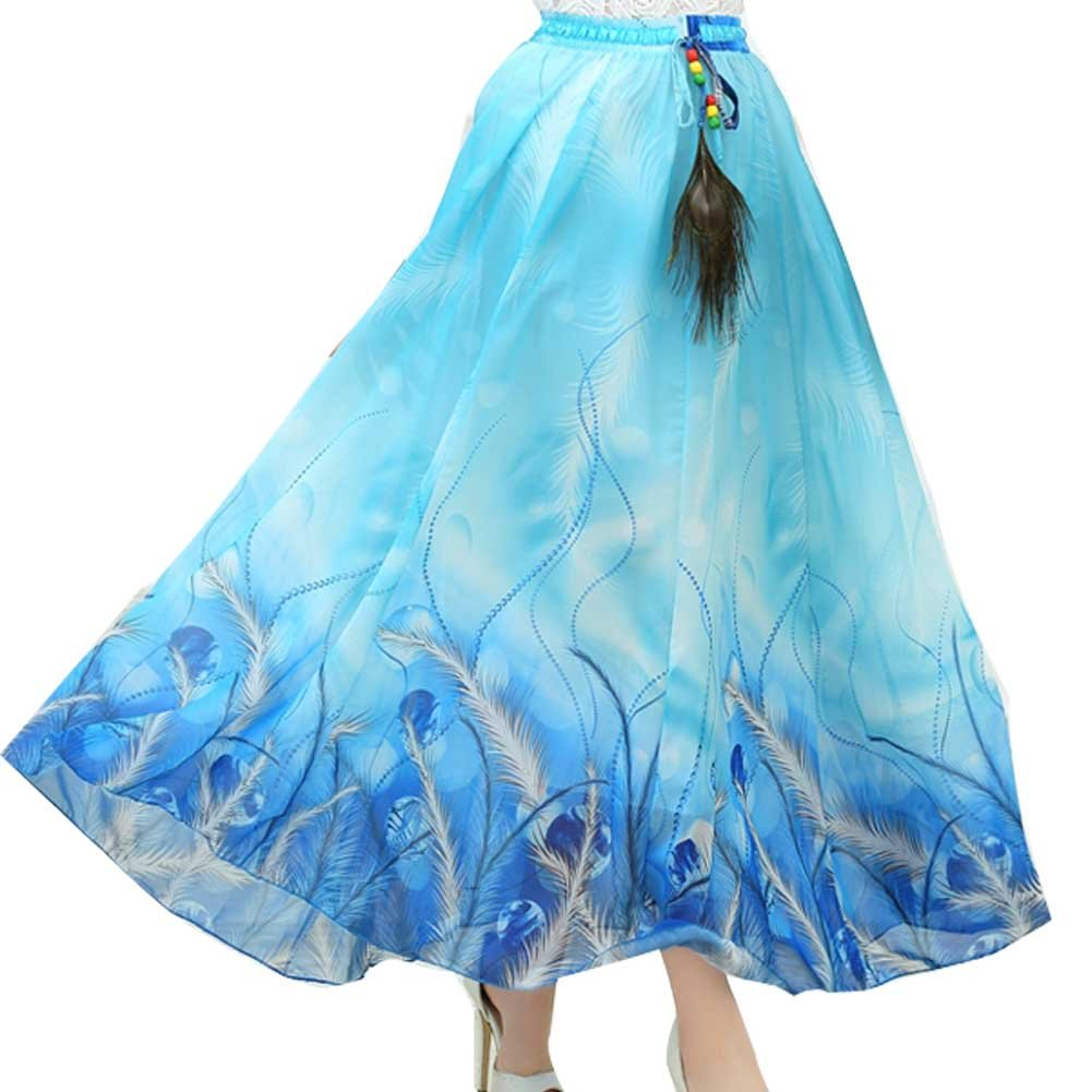 Ashir Aley Floral Woman's Long Summer Floral Lovely Maxi Skirt (Sky Blue)