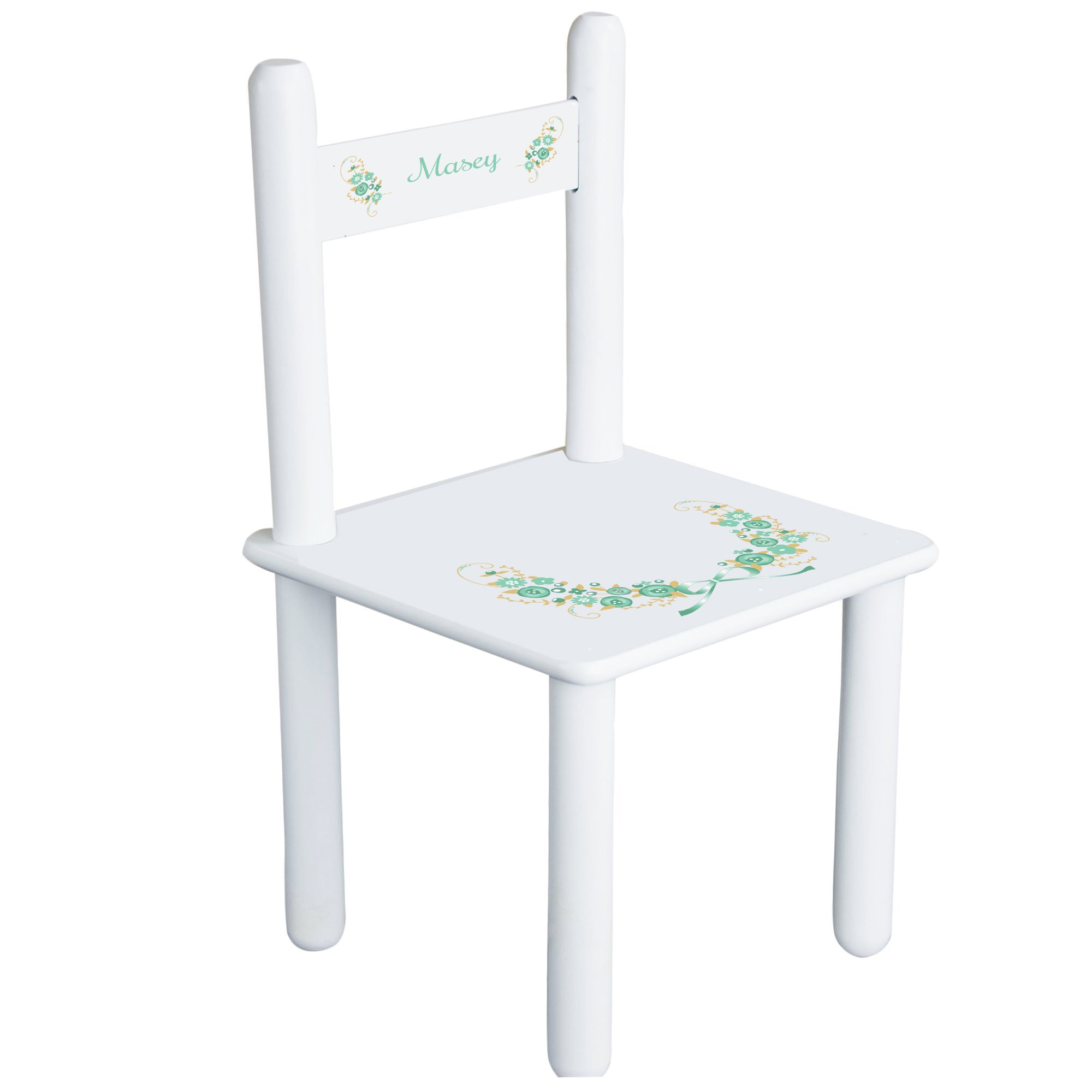 Personalized Golden Mint Vintage Garland Child's Chair - white