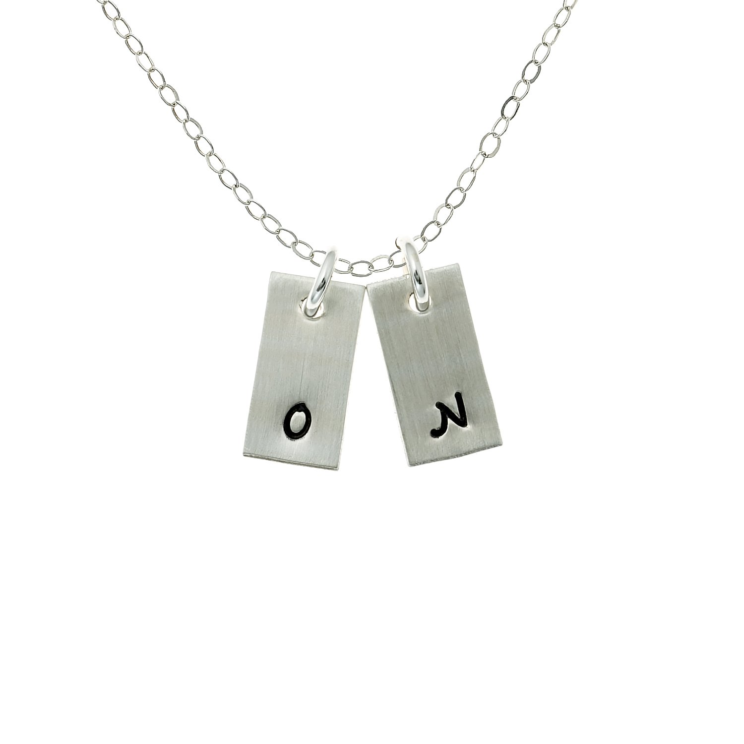 La Petite Rectangular Initial Charm Personalize 2 Rectangular Sterling Silver Charms Simple and Elegant Gifts for Her. Choice of Sterling Silver Chain Hand Brushed for Matte Finish