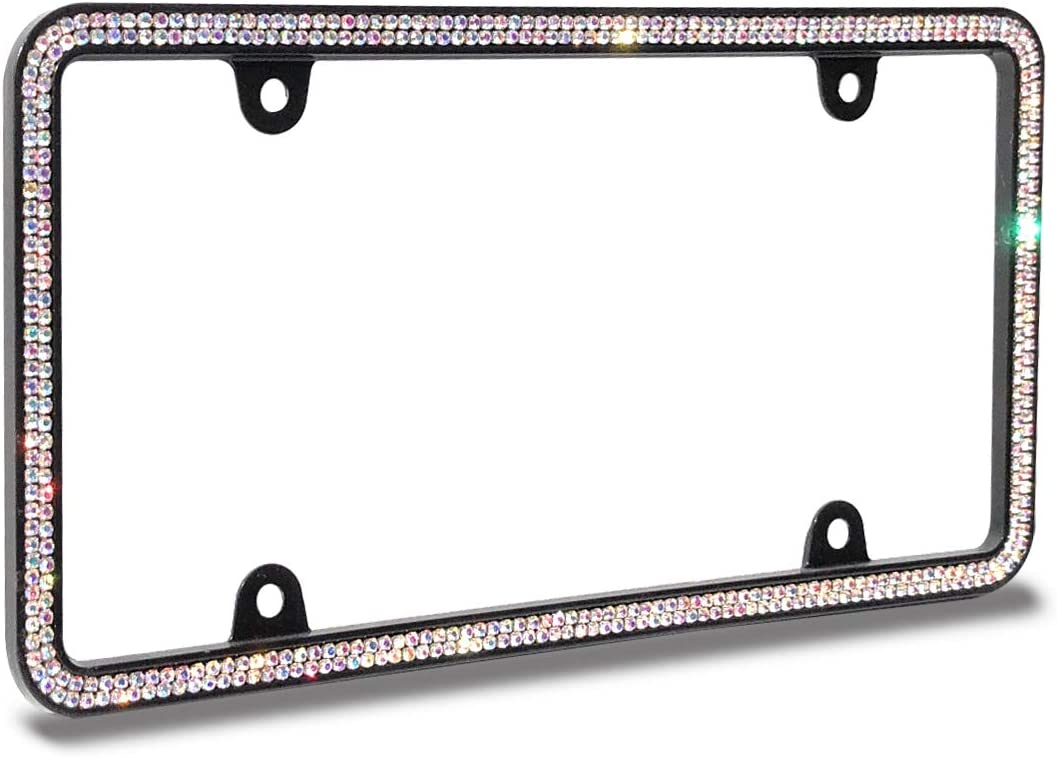 Neon JR2 Sparkling Double Row Crystal Metal License Plate Frame+Free Screw Caps