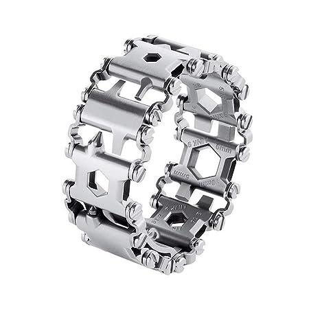 Multi Tool Bracelet for Men, 29 in 1 Stainless Steel Multifunction Bracelet Survival Multitools Bracelet Travel Friendly Wearable Multitool Tread Bracelet Silver