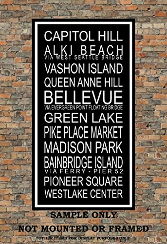 Seattle Subway Sign Print - Alki Beach - Vashon, Capitol Hill, Queen Anne, Pike Place Market, Bellevue, Madison Park, Green Lake - Multiple - Place Queens Market