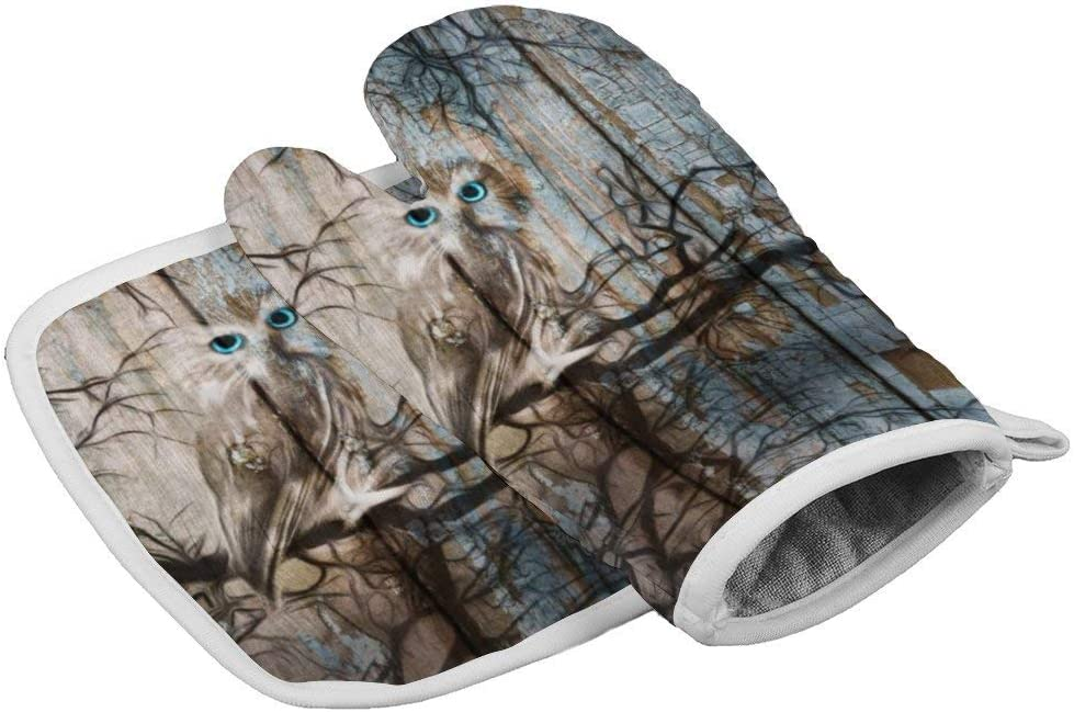 Owl On Tree Branch Moon Brown Blue Rustic Durable Oven Gloves Heat Resistant Kitchen Insulated gloves + insulated square mat Insulated gloves combination Owl on Tree Branch Moon Brown Blue Rustic