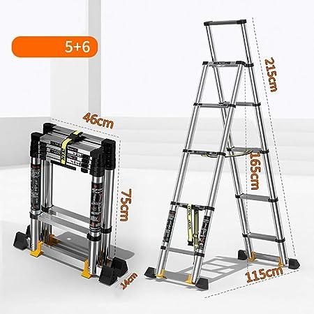 Escalera Telescópica Escalera telescópica Escaleras de elevación multifuncionales Escalera de ingeniería, Sobre ruedas Escaleras plegables Casa aleación de aluminio Escalera extensible (Color : A) : Amazon.es: Hogar