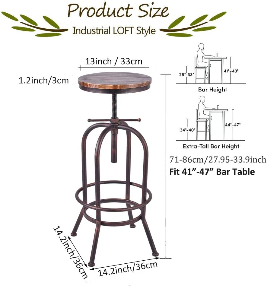 34 inch Vintage Industrial Bar Stool,Metal Wood Swivel Bar Stool,Retro Bar Height Stool,Counter Height Adjustable Kitchen Stools,Set of 2,Fully Welded,Extra Tall Pub Height 28-34 Inch Copper 2pcs
