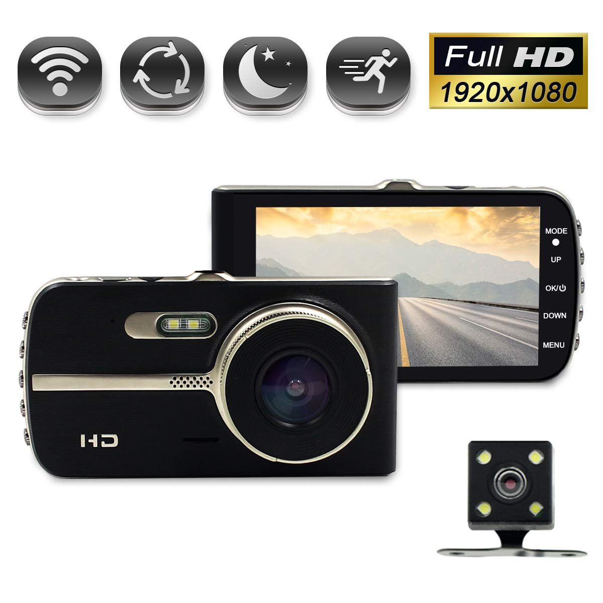 Rear Lens,4.0 IPS Screen 140 Wide Angle Vehicle On-Dash Video Recorder with Night Vision G-Sensor 4.0/'/' IPS Screen 140 Wide Angle Vehicle On-Dash Video Recorder with Night Vision G-Sensor XSJQ Dual Lens Car Dash Cam,1080P Fhd Car Video Camera