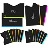 Aerb RFID Blocking Sleeves, Set of 16 (12 Credit Card Holders & 4 Passport Protectors) for Identity Theft Protection, Perfectly Fits Wallet/Purse-Black
