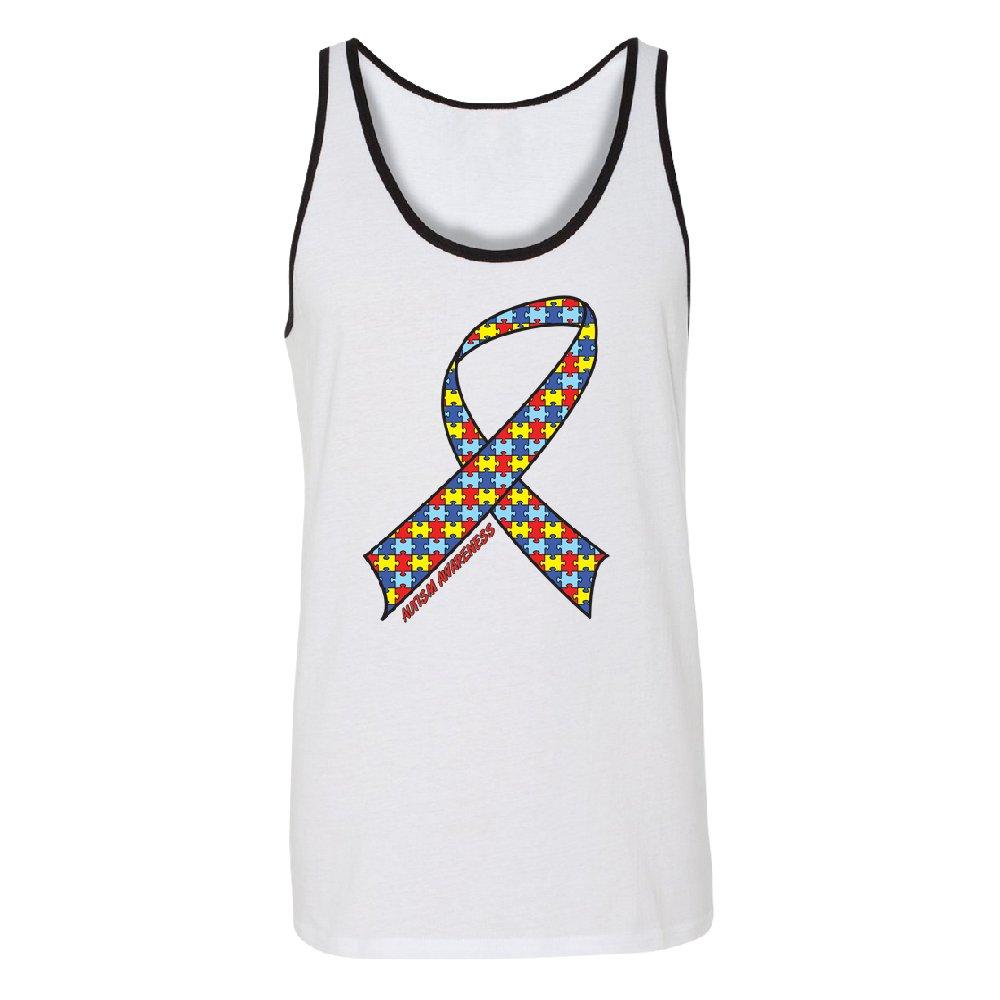 Puzzle Ribbon Autism Awareness Mens Tank Top Advocate Educate Love Shirts White Black X-Large