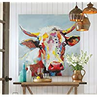 Orlco Art 100% dipinto a mano pittura ad olio animale carino mucca allungato e incorniciato pronto da appendere per salotto per arredamento colorato mucca