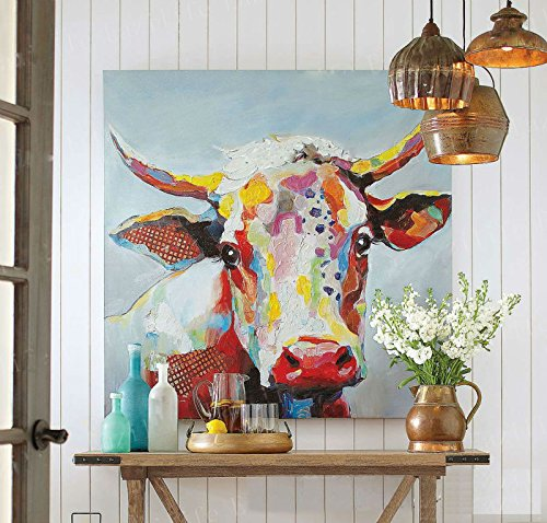 artist Handmade Modern Mural Picture on Canvas Wall Art Cow Painting Hang Paintings Abstract Pop Art Animals Oil Painting Landscape by Fchen Art