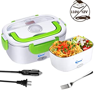 Benooa Portable Electric Lunch Box,12V/110V 2 In 1 Food Heater,Food-Grade Stainless Steel Food Warmer Heating Container with Fork and Spoon,Car Truck Home Work Use,1.5L (Green)