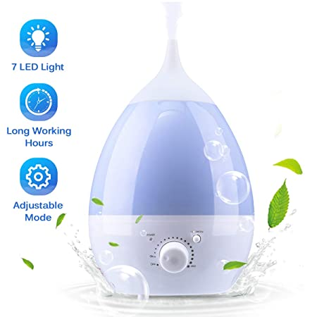 Janolia Cool Mist Humidifier, Ultrasonic Air Humidifier, with Essential Oil Tray, 7 Colors LED Night Light, for Home, Office, Yoga, Reading 1.3L
