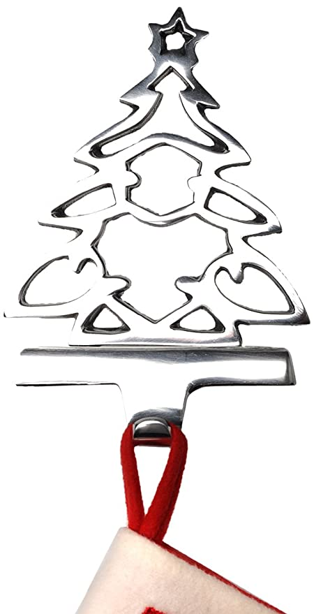 Cut Out Christmas Tree Stocking Hanger Silver