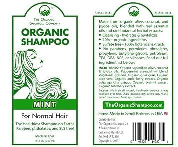 SALE Organic Shampoo - All Natural Shampoo - Sulfate, SLS, Paraben Free -  Ayurvedic Rare