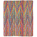 Kisscase Custom Blanket Colorful Zigzag Pattern with Mixed Contrast Messy Tone Lines Modern Stripes
