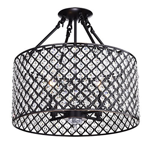 Edvivi Marya 4-Lights Oil Rubbed Bronze Round Shade Crystal Semi Flushmount Chandelier, Beaded Drum Shade | Glam Lighting