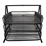 JIANGXIUQIN Magazine File Holder Organizer Grid Desk Manager 3 Layer Stackable Stationery Tray Sorter Shelf File Basket, Black Office Folder Organizer