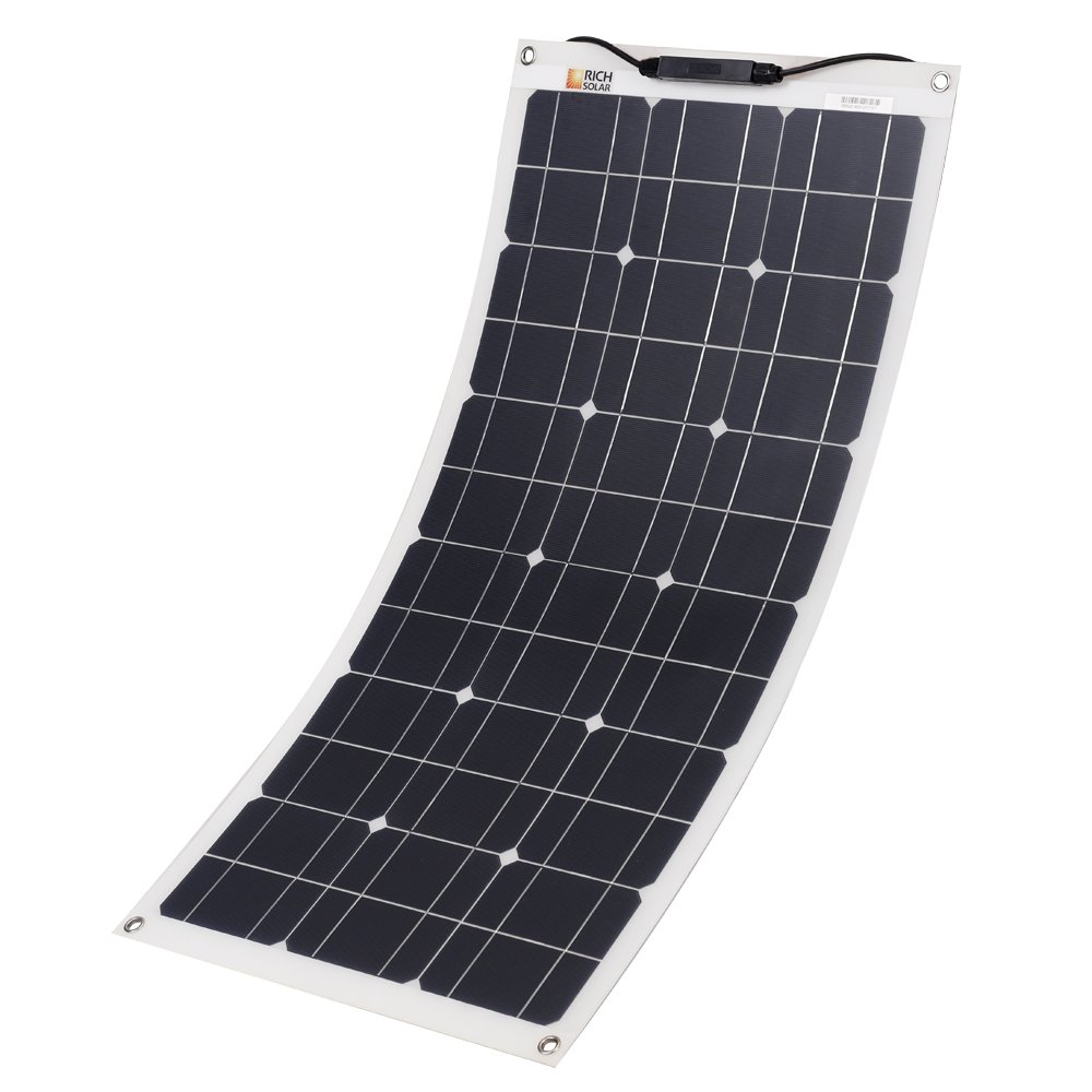 RICH SOLAR 50 Watt 12 Volt Flexible Monocrystalline Lightweight Solar Panel for RV, Boats, Roofs, Uneven Surfaces, Ultra Thin with MC4 Connectors (50W Solar Panel)