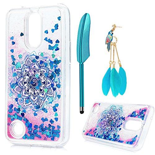 LG K20 Plus Case, LG K10 Case 2017, LG K20 V Case, Liquid Glitter Case Bling Sparkle Shiny Mandala Totem Flower Cover Flowing Floating Moving Love Heart Clear Ultra Slim TPU Bumper ZSTVIVA - Blue -