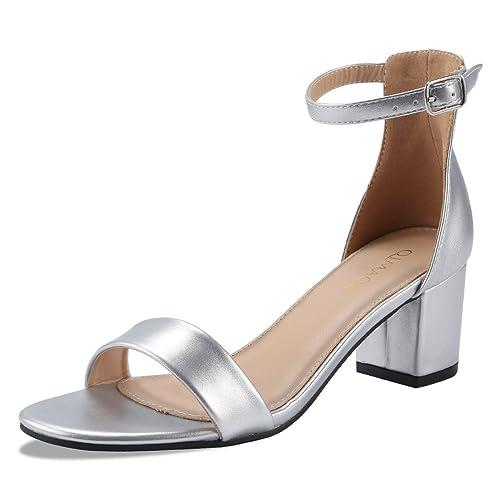 7cfe6f47b31b95 Qimaoo Femme Été Sandales à Talon Carré, Chaussures à Haut Talon de 6cm  pour Mariage