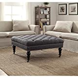 Linon Isabelle Tufted Square Ottoman For Sale