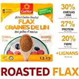 CanMar ORGANIC Milled Golden Roasted Flaxseed 1.2 kg/toasted taste & aroma/premium ground flax seed/flax meal/gluten free/nut free/tree nut free/non GMO/Omega-3/Fibre/plant based protein/farm to spoon
