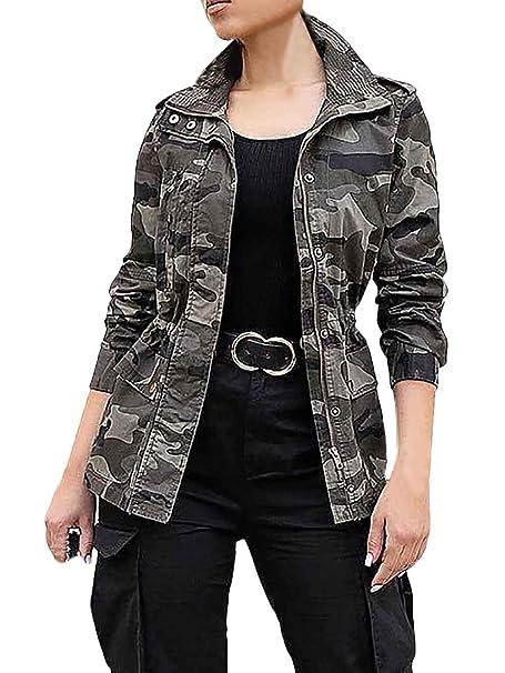 Abrigos Mujer Primavera Otoño Camuflaje Chaquetas Cremallera Manga Larga Informales Chaqueta Outerwear Especial Estilo: Amazon.es: Ropa y accesorios