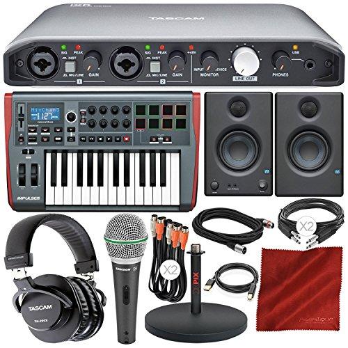 Tascam iXR USB Audio Recording Interface for iPad MacOS And Windows with PreSonus Impulse 25 USB-MIDI Keyboard Controller, Multimedia Monitors, Cables, and Premium Studio Bundle by Photo Savings