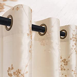 Faux Silk Floral Embroidered Grommet Top Curtains for Bedroom 63 inches Long Embroidery Curtain for Living Room, 2 Panels, Ivory