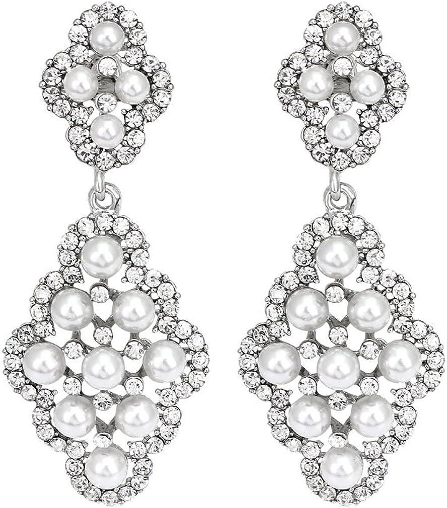YAZILIND Perlas de imitación diamantes de imitación aretes zirconia platino plateado espárragos