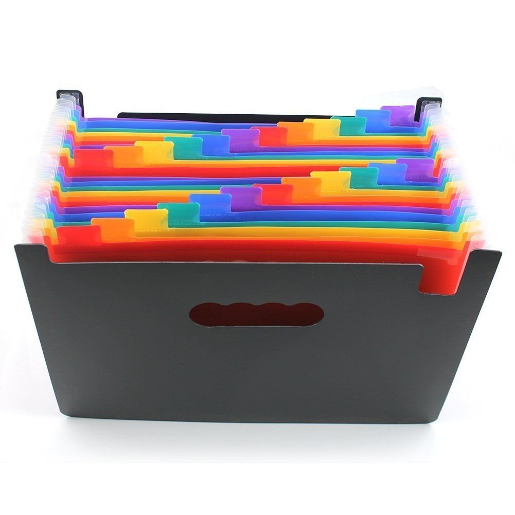 Plastic Organ Folder,Colorful,File Folder,Rainbow Multicolor Accordion Folder,24 Pocket Large Capacity Folder,Business Products(9.45 x 12.99inch)