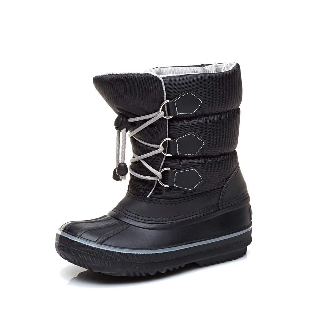 BOZEVON Unisex Kids Snow Boots Waterproof Warm Lined Non Slip Sole Wellies