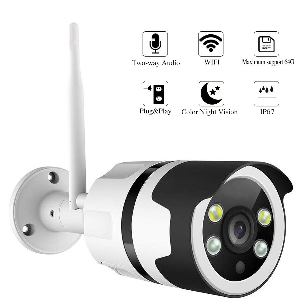 Color Night Vision IP Camera, WiFi Wireless Security Camera Surveillance  Bullet Outdoor WiFi Camera Waterproof IP67,Two-Way Audio,HD 1080P,Motion