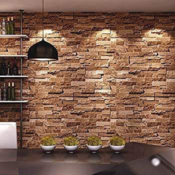 HaokHome 91303 Modern Faux Brick Stone Textured Wallpaper