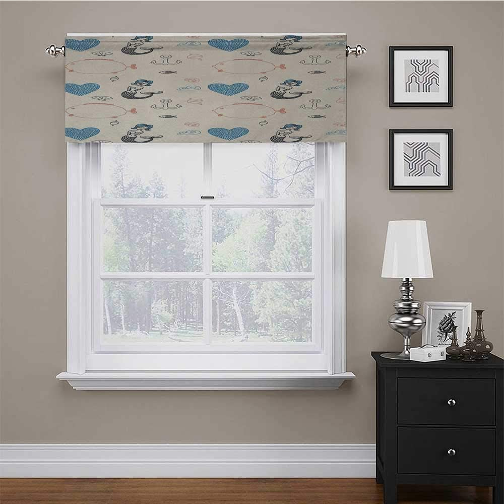 Kitchen Valances for Windows Mermaid for Living Room/Kitchen/Bedroom Balloon Fish Hearts Pattern Sea Oceanic Objects Sketch Art Kids Decor 56