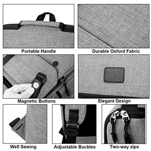 Unisex Professional Slim Business Backpacks Laptop, Feskin Fashion Lightweight Casual Tablet Backpack Daypacks Shoulder Bags for School Students Laptop Macbook Computer - Grey by Feskin (Image #4)