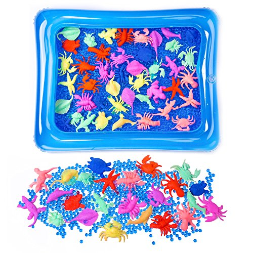 Inflatable Sand (LEOKON Inflatable Portable Sensory Tray or Sand Box, Kinetic Play Sand Tray, with 10000pcs Blue Water Beads and 30pcs creature water growing sea toys)