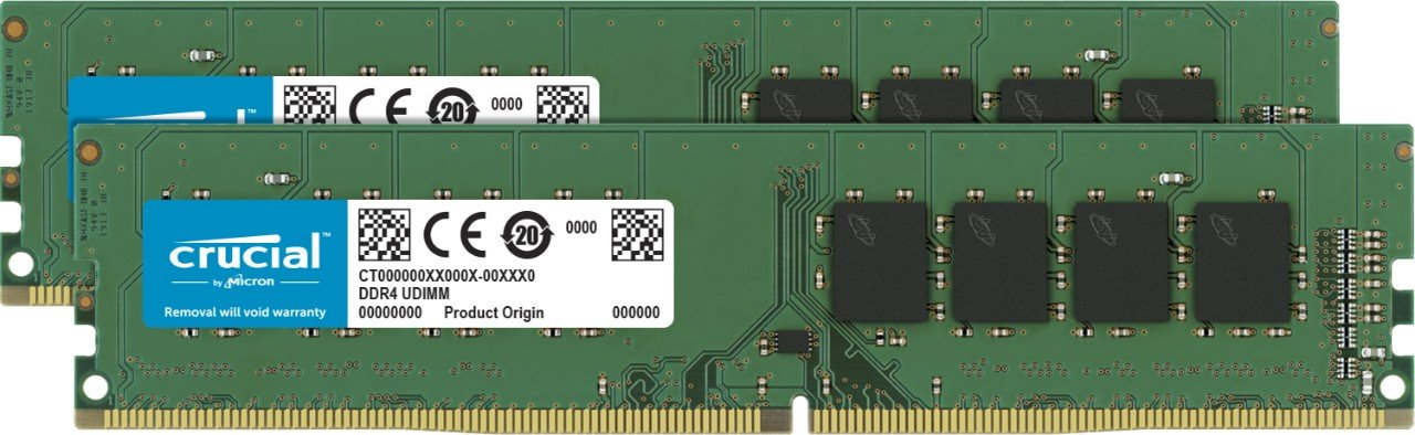 Crucial 32GB Kit (16GBx2) DDR4 2400 MT/s (PC4-19200) DR x8 Unbuffered DIMM 288-Pin Memory - CT2K16G4DFD824A by Crucial