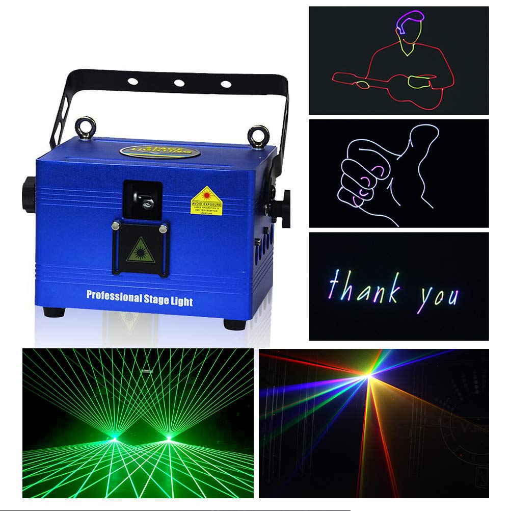 V-Show 1W RGB Animation Laser Lights Show for Party, Dmx Dj Laser Stage Lighting Effect, 12CH, Programmable Laser Projector Best For Disco Wedding Family Clubs Xmas RGB Lasers Show by V-Show