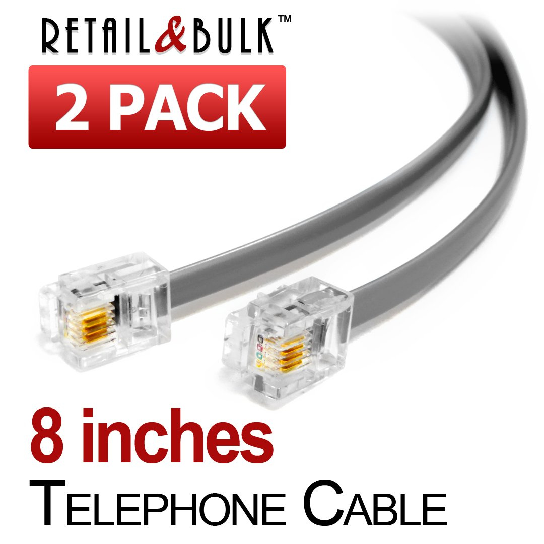 8 Inches White Telephone Cable RJ11 Male to Male 6P4C Phone Line Cord 2 Pack
