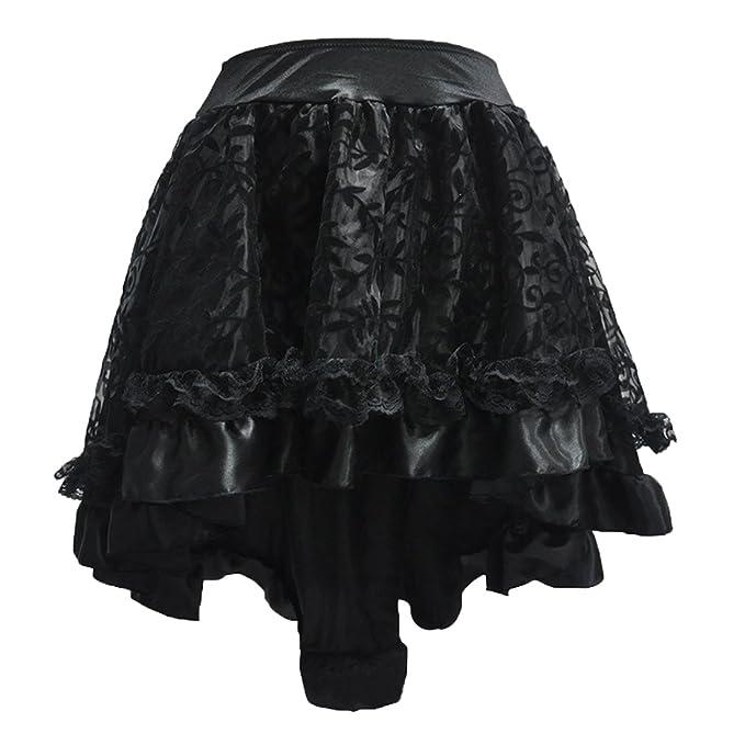 893b0cd3e478 KUFEIUP Women's Gothic Steampunk Vintage High Low Mini Skirts XL Black