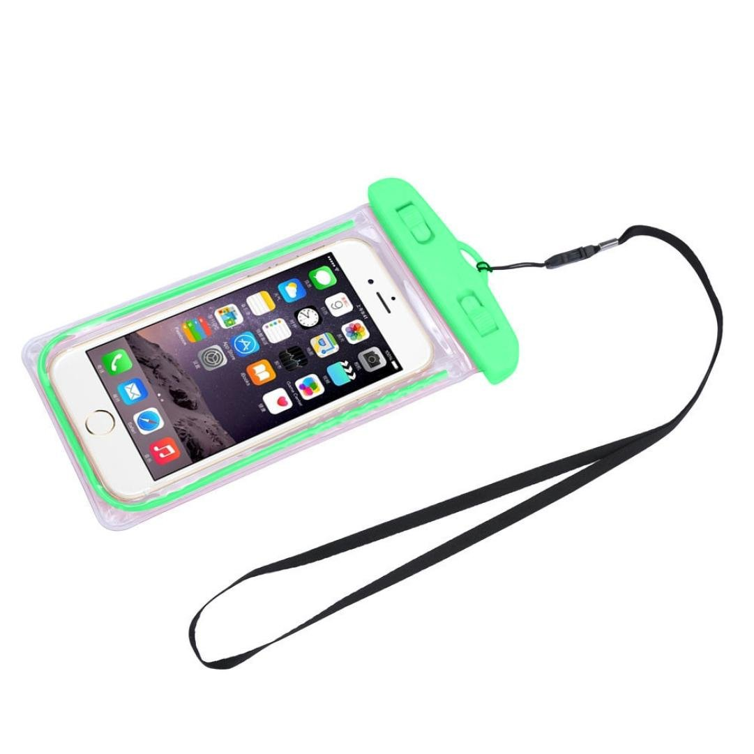 For 5.5 inch Cell Phone, Mchoice Travel Swimming Waterproof Bag Case Cover (Green)