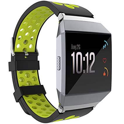 1a427b9b4 uiphgjwexzv Fitbit Ionic Watch Band, Two - Toned Breathable Silicone Sport  Watch Band Adjustable Replacement Accessories with Buckle for Fitbit Ionic  Smart ...