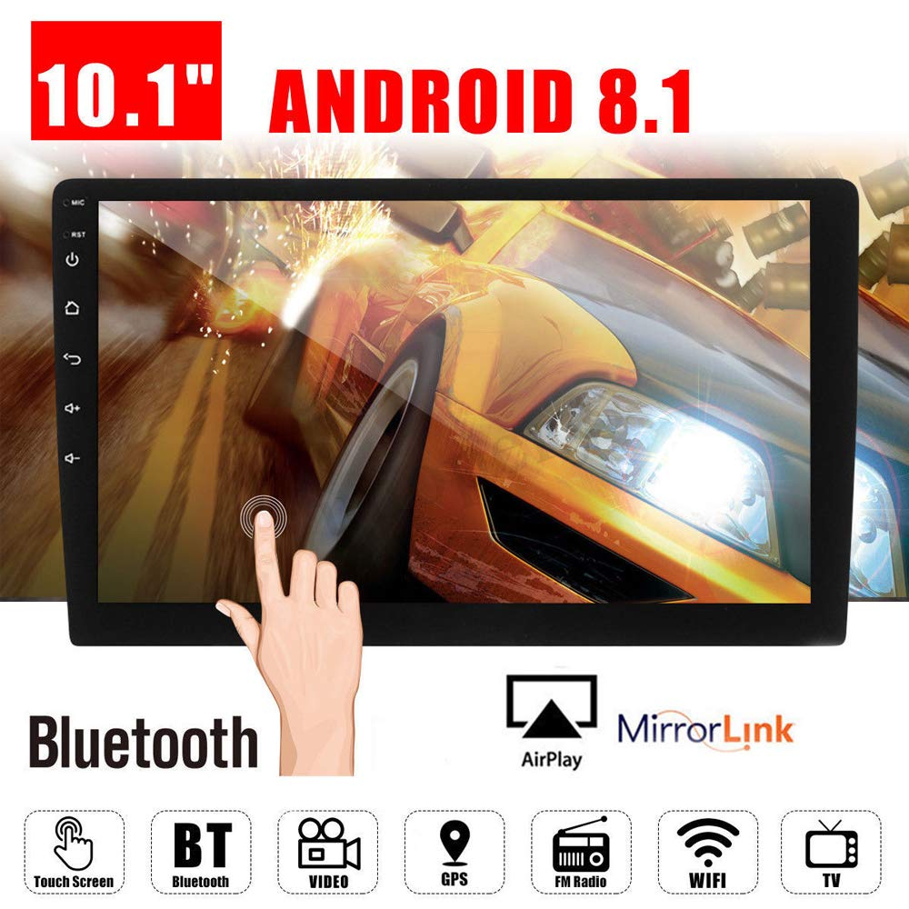 10.1'' Android 8.1 Car GPS Double 2Din Quad Core 16GB Touch Screen in Dash Car Stereo Radio Navigation with Bluetooth GPS WiFi DAB OBD SWC Mirror Link Multimedia
