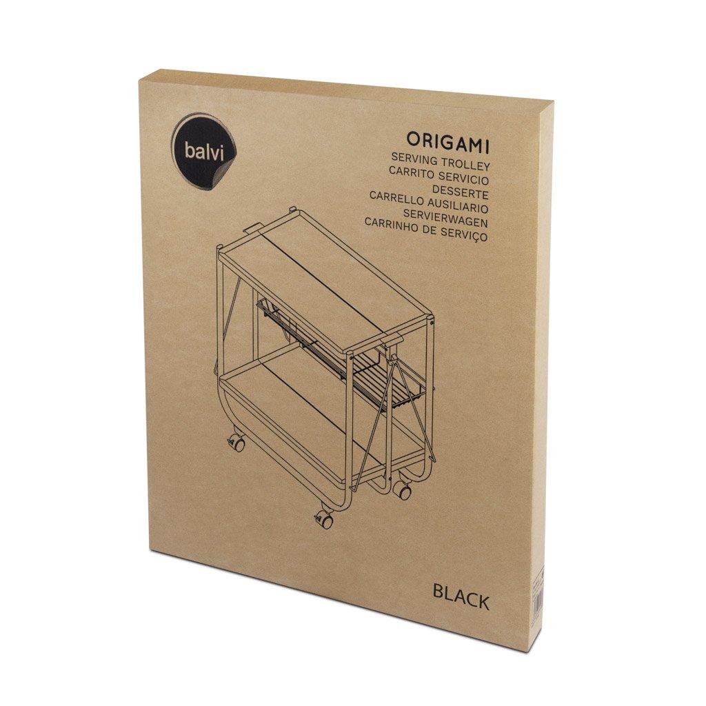 Balvi Carrito Servicio Origami Color Blanco Plegable con Ruedas Metal 69x68x40cm: Amazon.es: Hogar